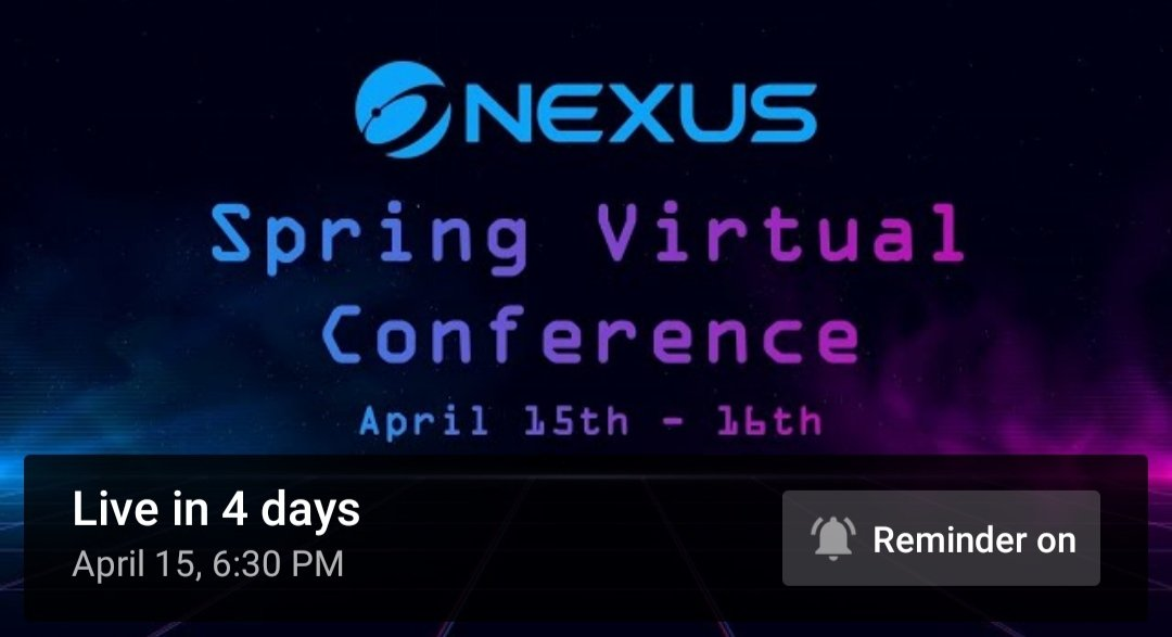 #Nexus Virtual conference will be 🔥🔥🔥🔥🔥🔥🔥🔥🔥🔥🔥🔥🔥 $Nxs