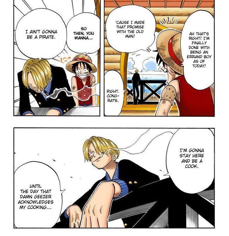 """THIS is why someone like Sanji, who's nearly as strong as those 2 wouldn't be able to unlock CoC EVEN if its dormant in him. He was content just living in Baratie and thought of the All blue as a """"would be nice"""" kinda thing, instead of dying to go out there in any way possible"""