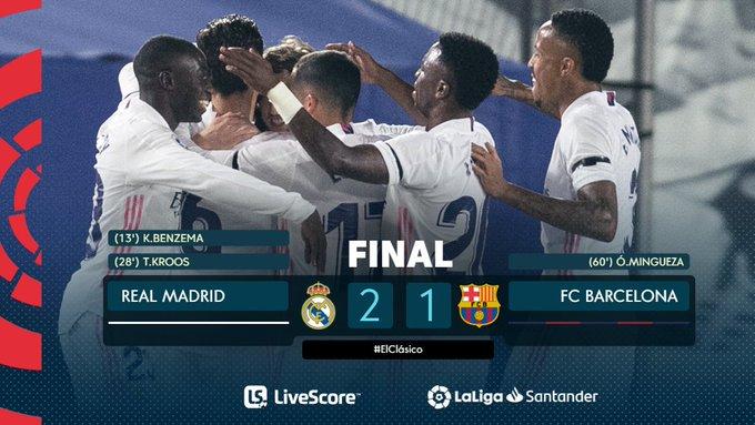 Hasil pertandingan El Clasico Real Madrid vs Barcelona Liga Spanyol 2021.