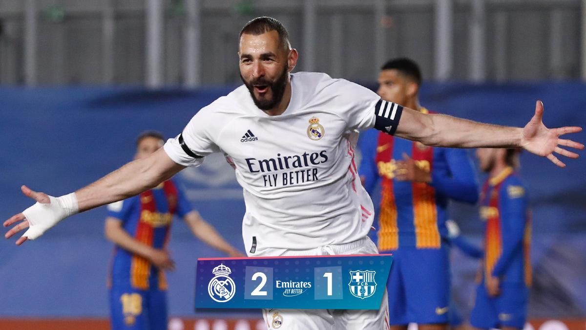 🏁 FP: @realmadrid 2-1 @FCBarcelona_es ⚽ @Benzema 13', @ToniKroos 28'; O. Mingueza 60' #ElClásico | #Emirates https://t.co/8Ym4dv1ddF