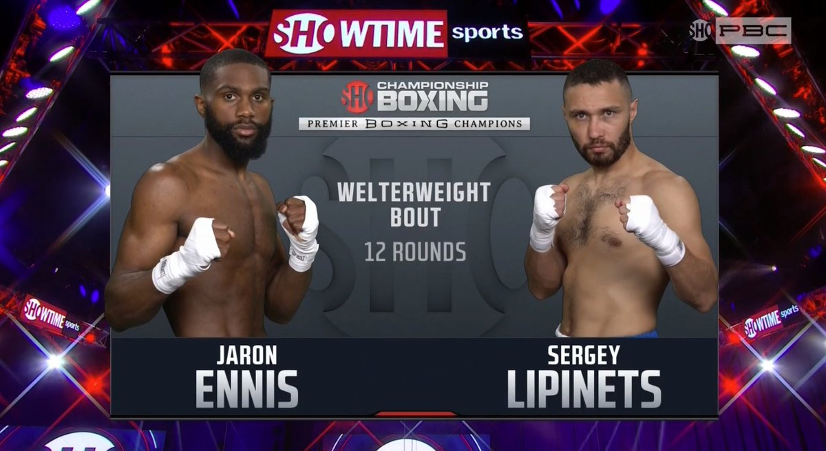 Jaron 'Boots' Ennis is about to headline his first @SHOsports card against Sergey Lipinets.   For me, Ennis's skills jump off the screen. He appears poised for something special, but to do that, he'll have to win fights like these.  Main event is about to start. https://t.co/6d2c1Lj6Hf