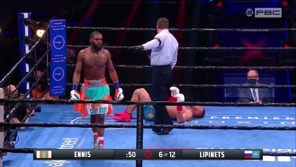Boom. Fight's over. @JaronEnnis wins via 6th round KO. #EnnisLipinets https://t.co/xg1ntUK2wf