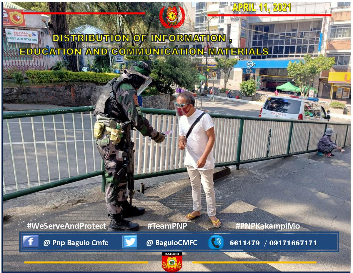 CMFC personnel distribute IEC Materials on COVID 19 prevention tips and anti-terrorism awareness to passersby and church goers at Upper Session Road, Baguio City. #TeamPNP #PNPKakampiMo #WeServeAndProtect #LetsVoltinAndFightAsOne https://t.co/i0N7hjpqZc