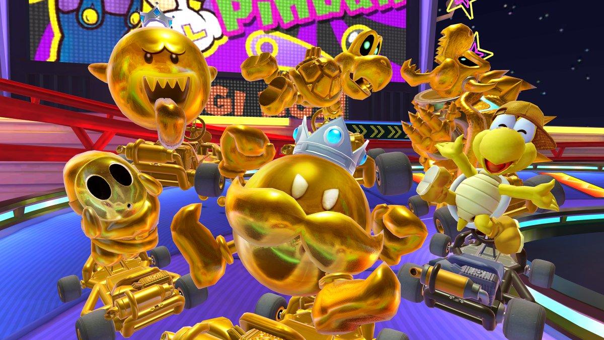 test ツイッターメディア - あっちもこっちも、キラキラ輝く金色の体。 新登場の「ボムキング(ゴールド)」をはじめ、ゴールドなドライバーが大集合!  本日から、期間限定で「ゴールドドカン」が登場!  #マリオカートツアー https://t.co/sRD8tKWu6l