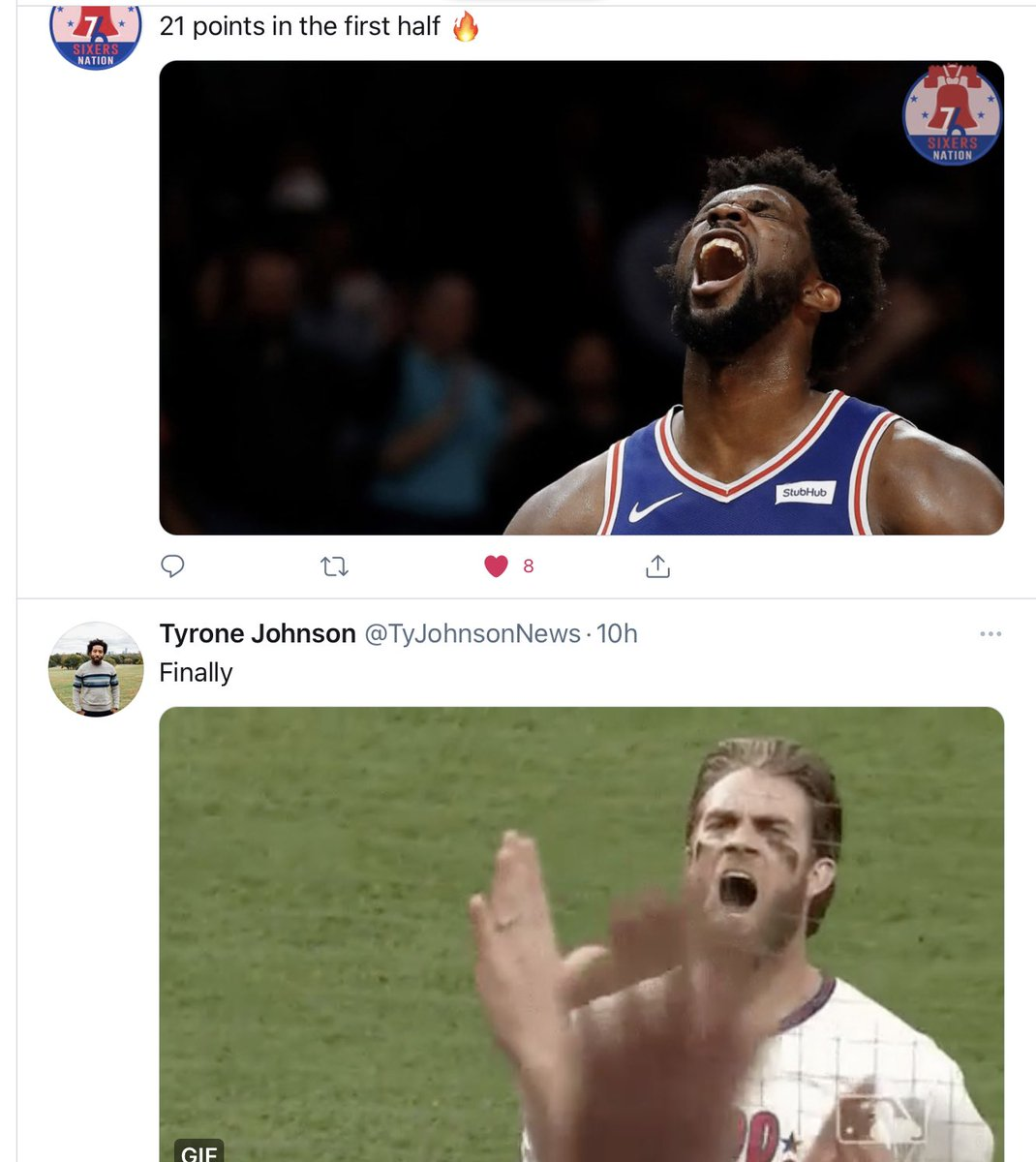 Loving my timeline this morning! @sixers @Phillies @TyJohnsonNews  #sixers #Phillies https://t.co/CMUIBIuUnV
