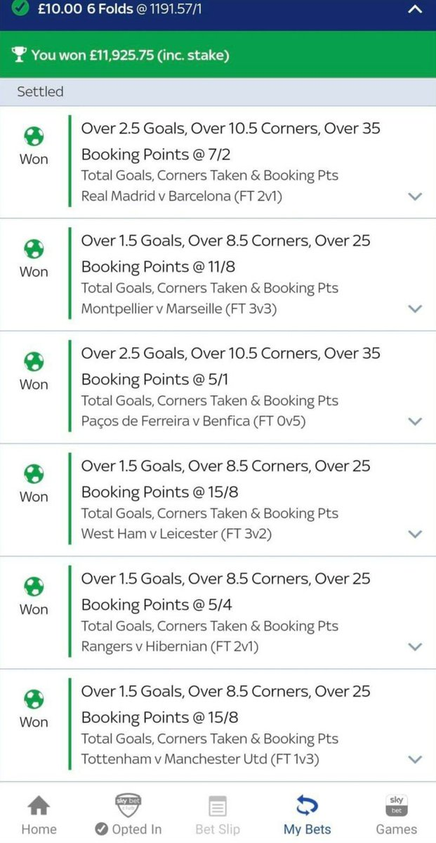 Absolutely outrageous!   £10 turned into just shy of £12k on a 6-fold over the weekend... 🤯🔥  📃 @AdamSutcliffe10   #BeatingTheBookie https://t.co/TmMJeN2qdS