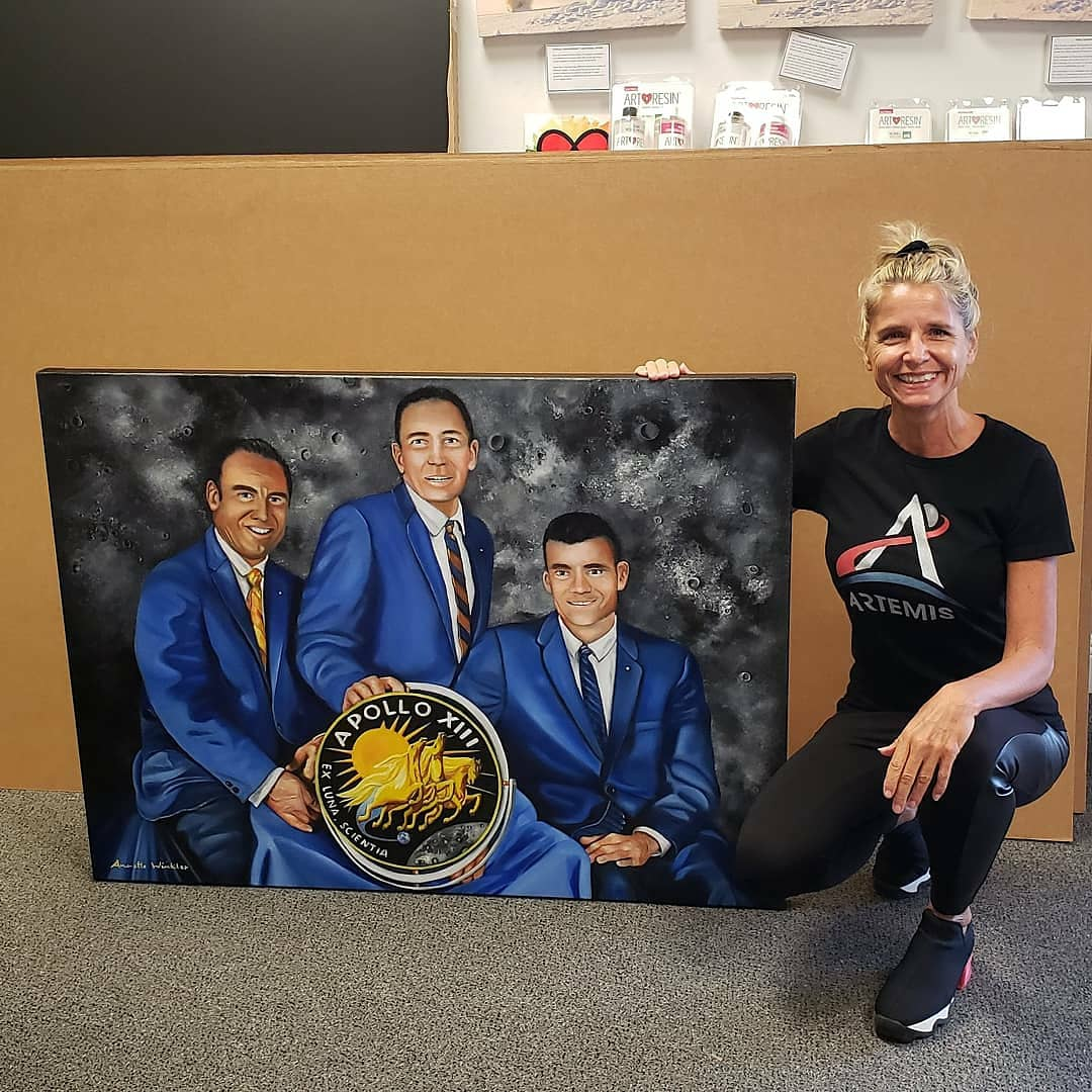 #Apollo13  was launched on April 11, 1970 Feeling so honored that #jimlovell and @FredHaise signed my painting  https://t.co/BJb0eqqWLu  @NASA #dearmooncrew @dearmoonproject @yousuck2020 @elonmusk @NASAKennedy @NASASocial @ExploreSpaceKSC @inspiration4x #countdowntomars #moon https://t.co/NB32fNH1wy