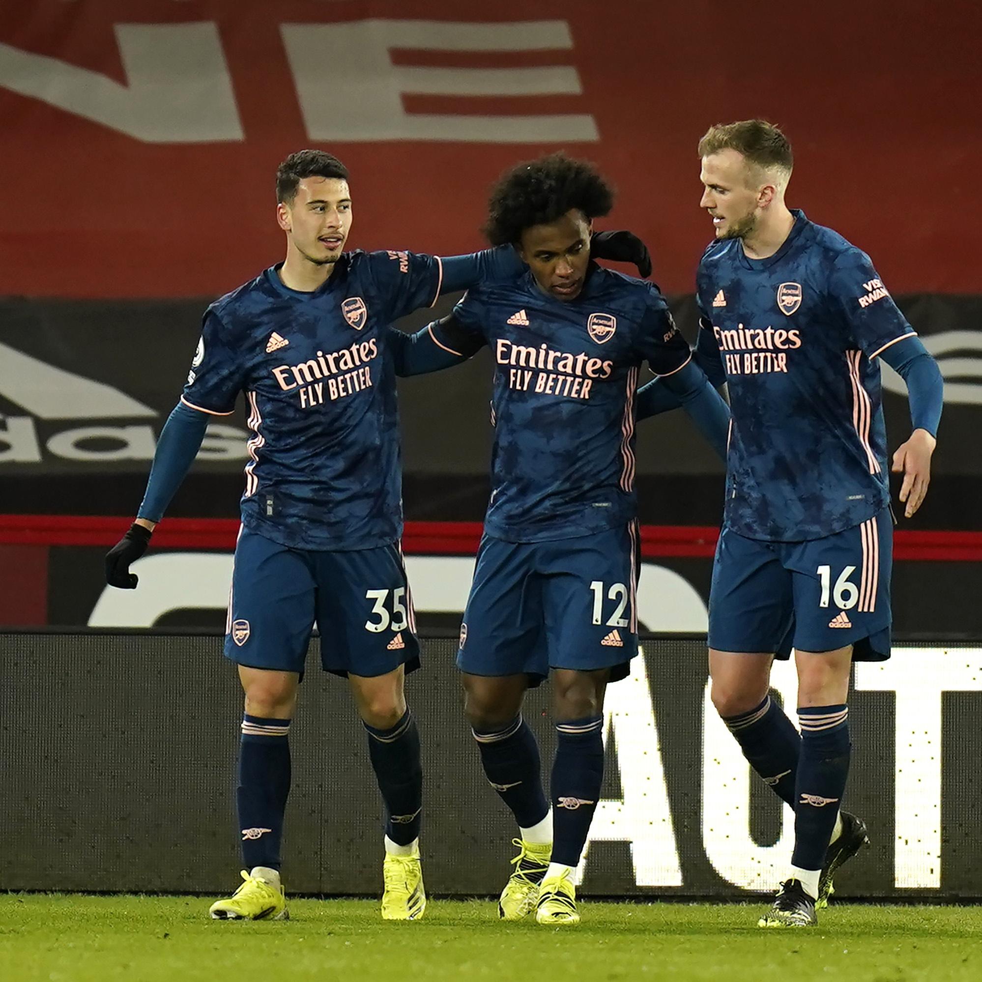Martinelli celebrates against Sheffield United