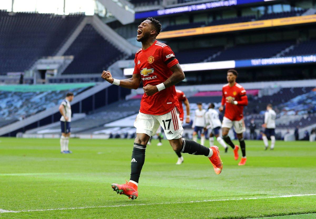 Fred celebrating his goal against Tottenham.  Retweet for good luck 🍀 https://t.co/KSrRjNeLi1