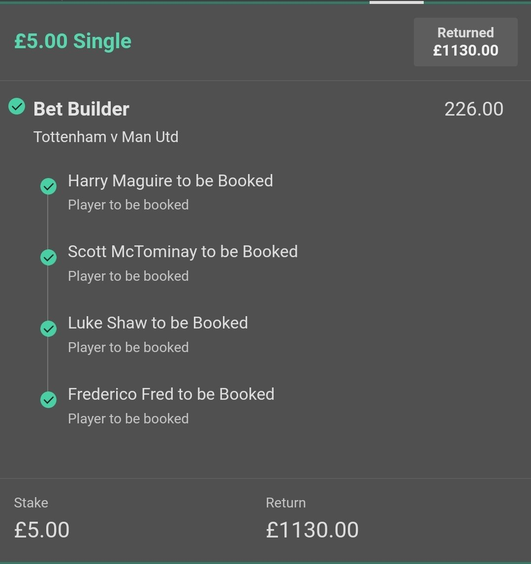 What a beauty!   Chris Kavanagh brought his cards to the game and one punter has capitalized! 😍  📱 @ktwoolly   #BeatingTheBookie https://t.co/sPECN1ZsPx