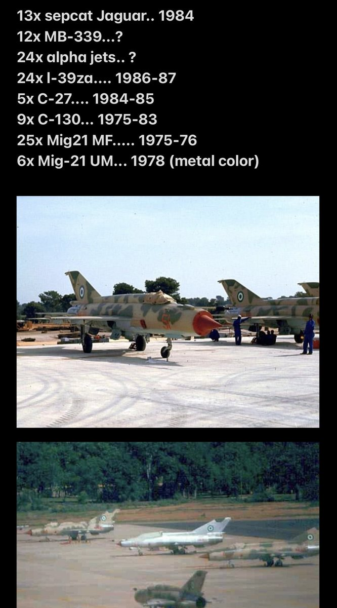 Some of the 100+ brand new fixed wing aircrafts delivered to the Nigerian Air Force in the 10 years between 1975-85... their golden decade, surely at the time NAF had in excess of 300 pilots?  Please correct the dates and add anywhere possible. https://t.co/AR9VDlcXme