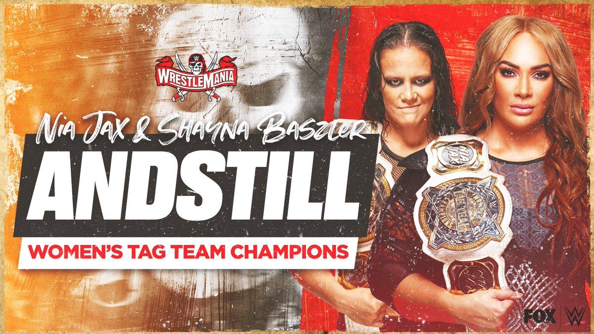RT @WWEonFOX: STILL DOMINANT.  #ANDSTILL @WWE Women's Tag Team Champs: @NiaJaxWWE & @QoSBaszler! #WrestleMania https://t.co/CY6harHwSm