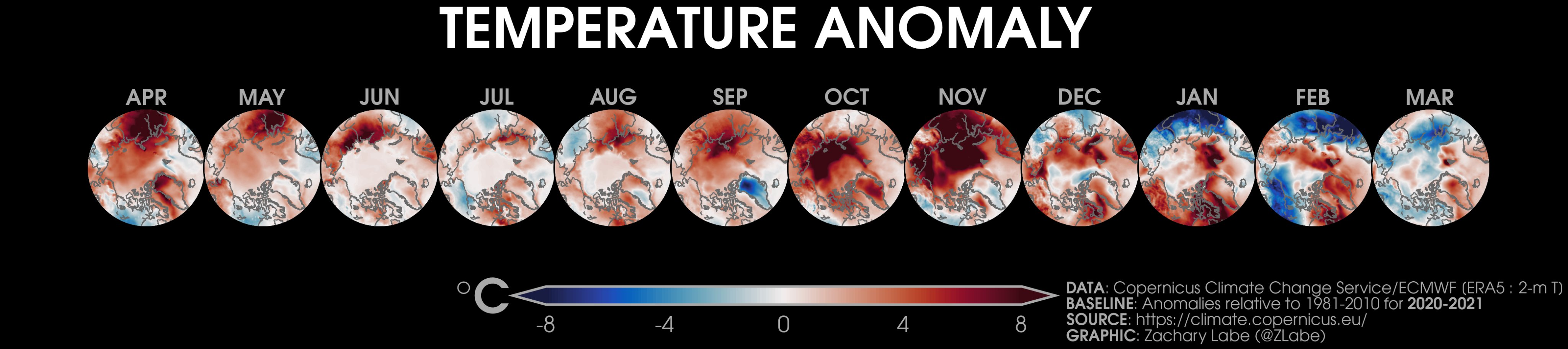 Polar stereographic maps of Arctic 2-m air temperature anomalies over the last 12 months from April 2020 to March 2021 using ERA5 reanalysis