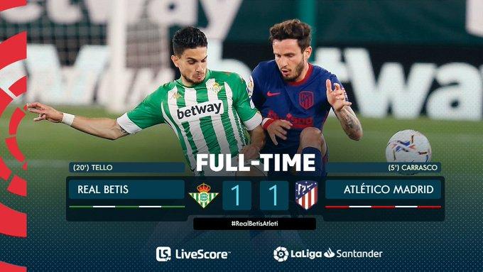 Skor akhir Real Betis 1-1 Atletico Madrid