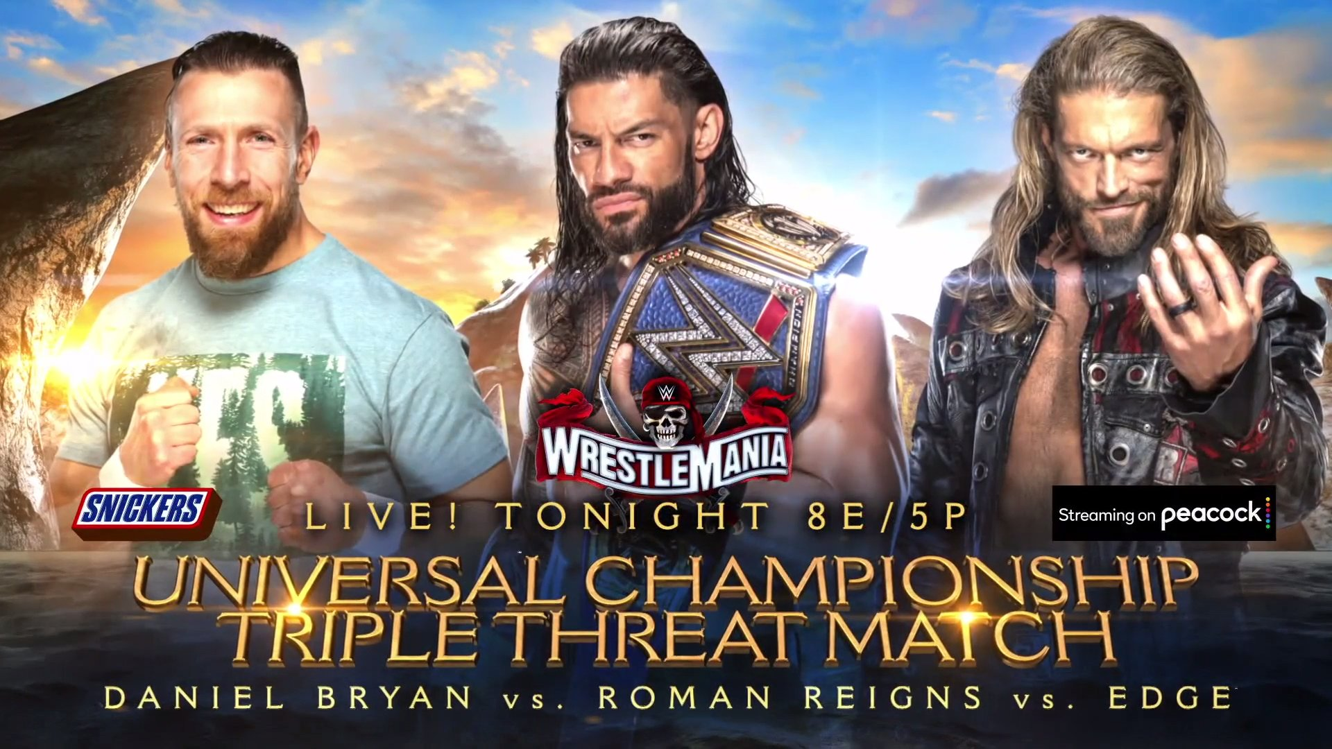 Daniel Bryan took on Edge and Roman Reigns in a triple threat title fight at WrestleMania 37. (WWE)