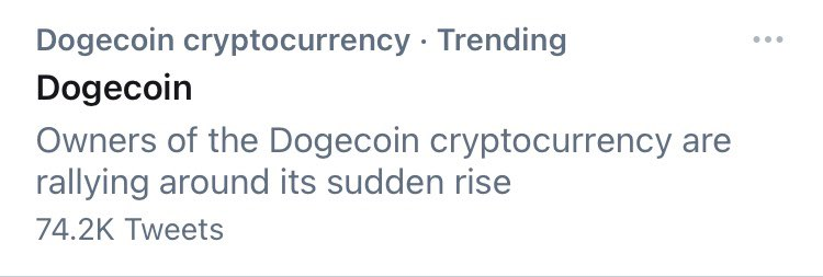 RT @cryptobiggums: Trending much #DogeArmy ????  #DogecoinToTheMoon #DogecoinRise #dogecoin https://t.co/lAN1naVIP6