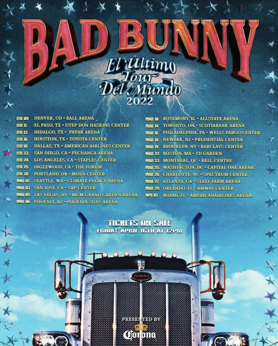 "🤍➆ on Twitter: ""BAD BUNNY JUST ANNOUNCED HIS TOUR DATES FOR 2022 🔥… """
