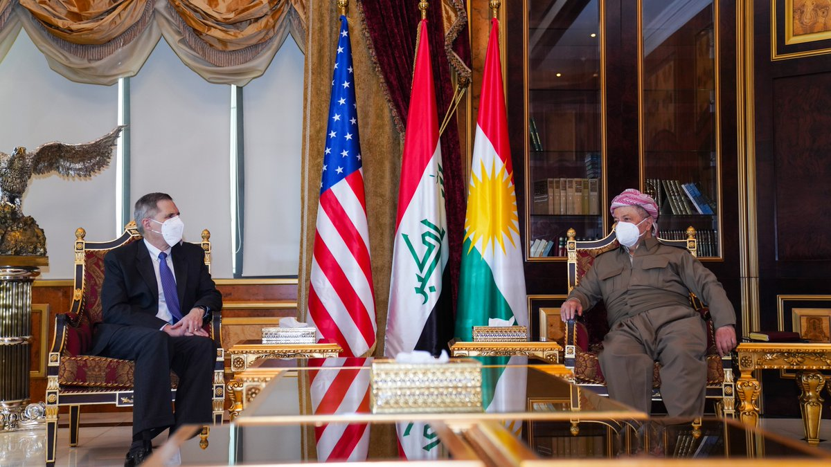 Happy to have received a @USEmbBaghdad delegation headed by ambassador Matthew Tueller today at the Barzani HQ. We discussed the new political developments and reiterated our mutual commitment to further strengthening the USA-Kurdistan relations. https://t.co/q18EfT7Txe
