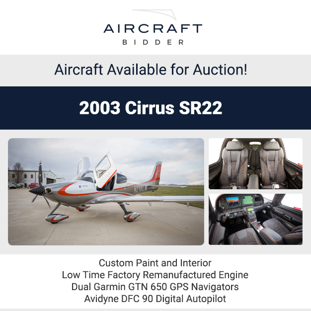 #Aircraft available for auction at Aircraft Bidder 2003 #Cirrus #SR22 1967 #Beechcraft #V35 #Bonanza  2010 #Vans RV10 1990 #Citation III  More details at: https://t.co/gPSmb1f4Qb  #privatejet #privateflying #jetforsale