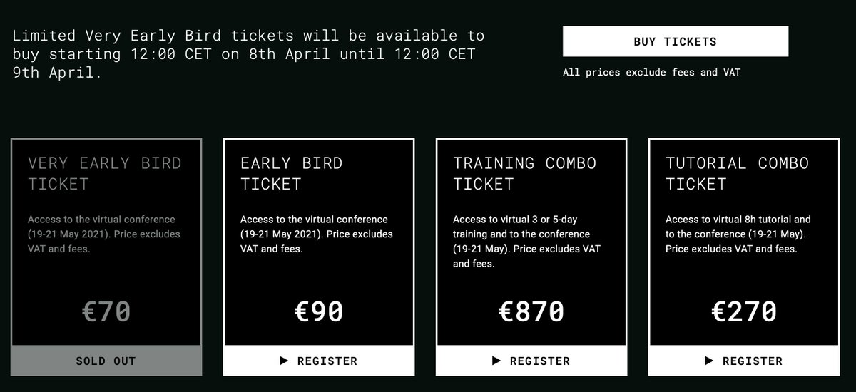 Morning! Very Early Bird tickets for #CodeBEAMv Europe sold way ahead of time!🥳 #EarlyBird sales end on April 19. Register now, to get the best price and meet with @josevalim, @wilton_quinn, @expede, @gettyorawo, @peerstr, @sm_debenedetto and more: https://t.co/VSeWVRCu10 https://t.co/HJkFO2ZvVl