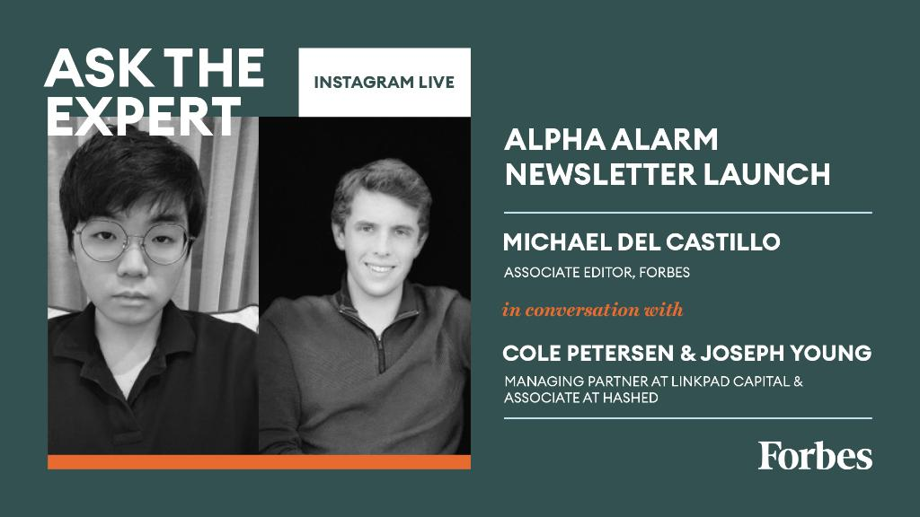 Were excited to announce that @Forbes partnered with Alpha Alarm, the wildly popular newsletter run by @iamjosephyoung, @n1ckchong , and @cole0x, offering bitcoin and defi markets analysis, on-chain deep-dives and more. Join us at 11am ET to learn more: on.forbes.com/6014HLNok