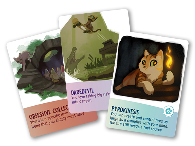 """Magical Kitties Save the Day"" Kitty Cards:  The cards are color coded to the character sheets which makes it super easy to see whether it's a Talent, Magical Power, or Flaw. Purple = Talent Blue = Magical Power Orange = Flaw"