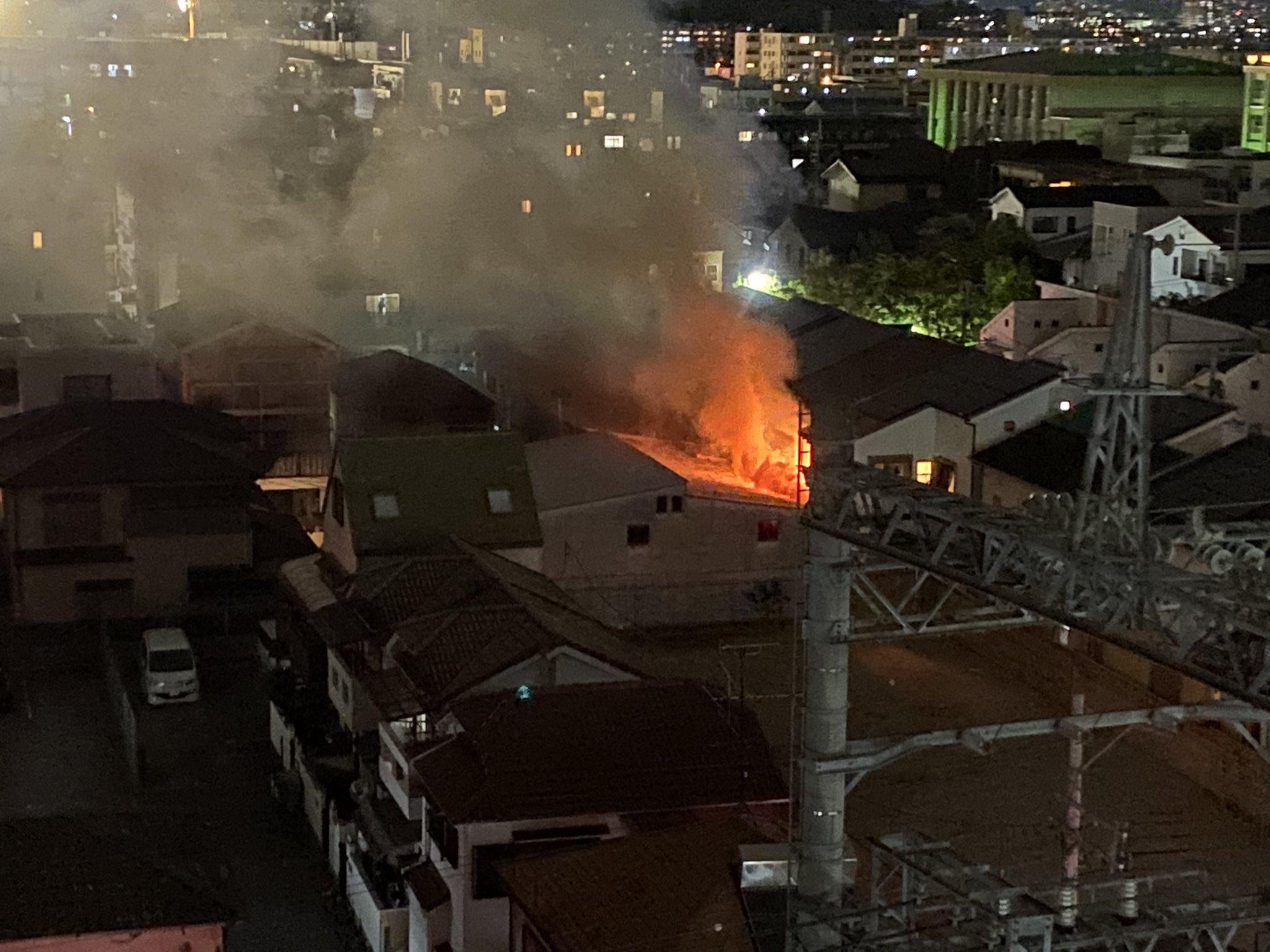 西宮市青木町で火事の現場の画像