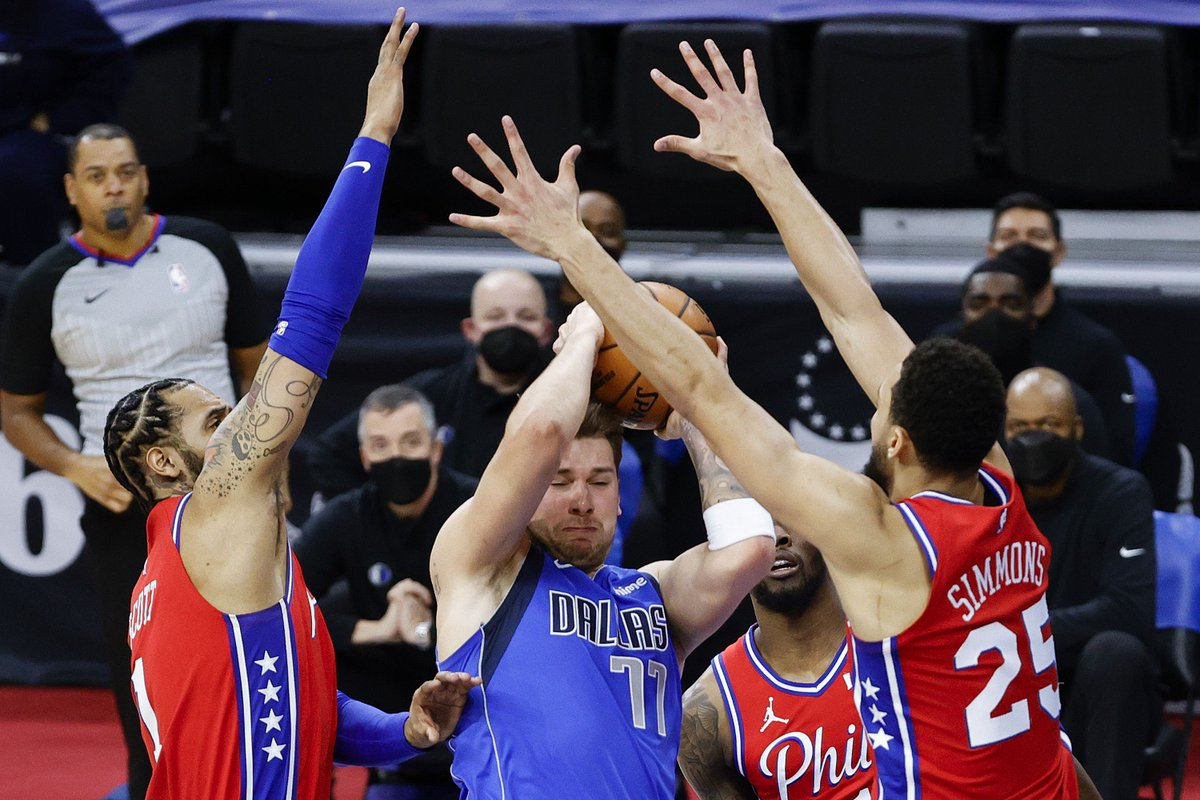 The Sixers finish their four-game road trip tonight against the Mavericks.  It's their second matchup of the season, and Ben Simmons will have a chance to put on another dominant defensive display against Luka Doncic: https://t.co/JOfee7tHs7 https://t.co/d6eKs3URpG
