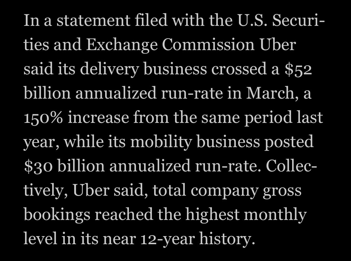 The UberEats business is so great, they'll only lose $50 mln this year.