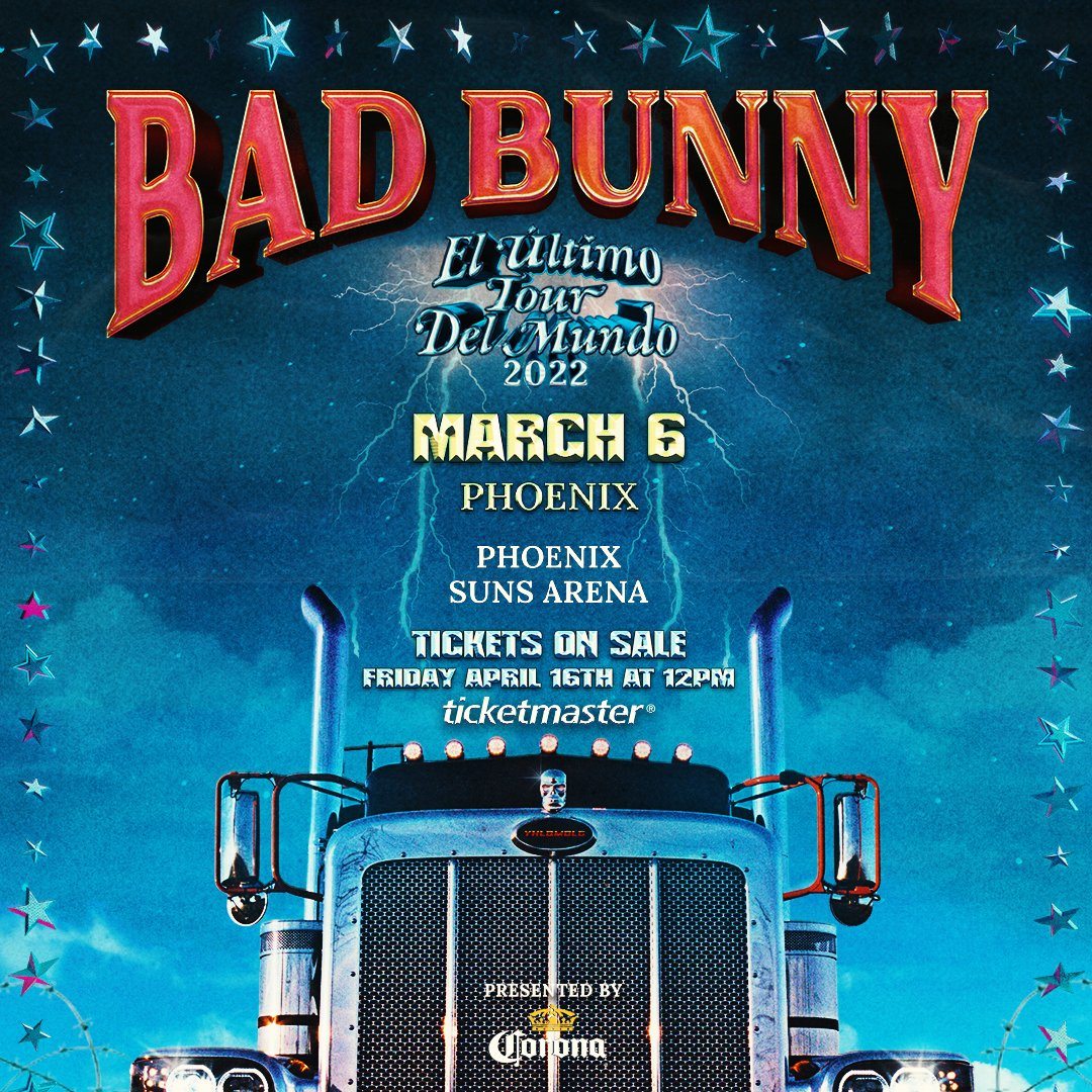 JUST ANNOUNCED: Bad Bunny is coming to Phoenix Suns Arena on March 6, 2022. Tickets go on sale this Friday at 12pm local time. https://t.co/AVGZV8J2FK