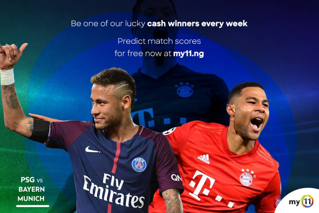 My11 Predicts: PSG (3) - Bayern Munich (1)  Do you agree with us?  Hurry, make your prediction at https://t.co/mOcsa1wcTl   Up to 66k naira to be won each week.   #My11 #naija #bayern #psg #uefaqualifiers #sportnews #championsleague  #footballnews #skysport #supersport https://t.co/PcU0LKkeLd