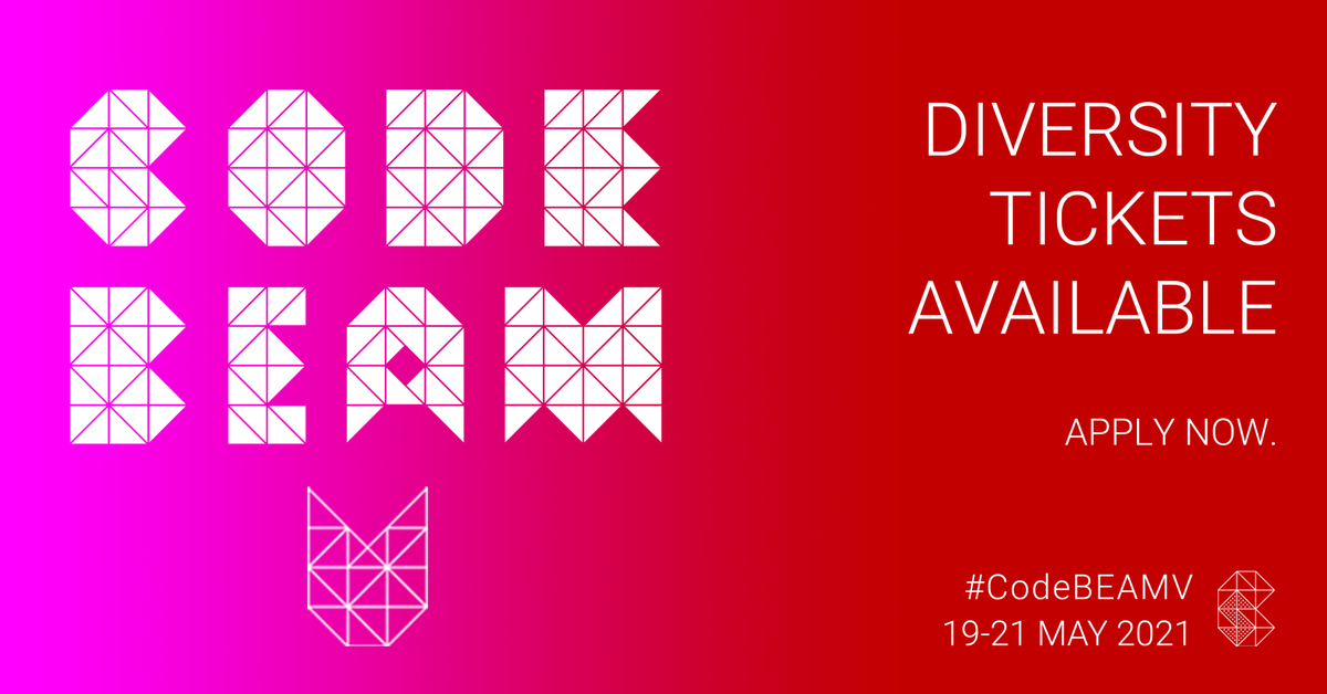 Free diversity places to under-represented groups in tech are available thanks to @Klarna! Fill in the online form and give yourself a chance to join our #BEAM community: https://t.co/kTMR2fjVG2 #Erlang #Elixirlang #CodeBEAMV #diversityticket @DiversityTix https://t.co/rdrg9plnhN