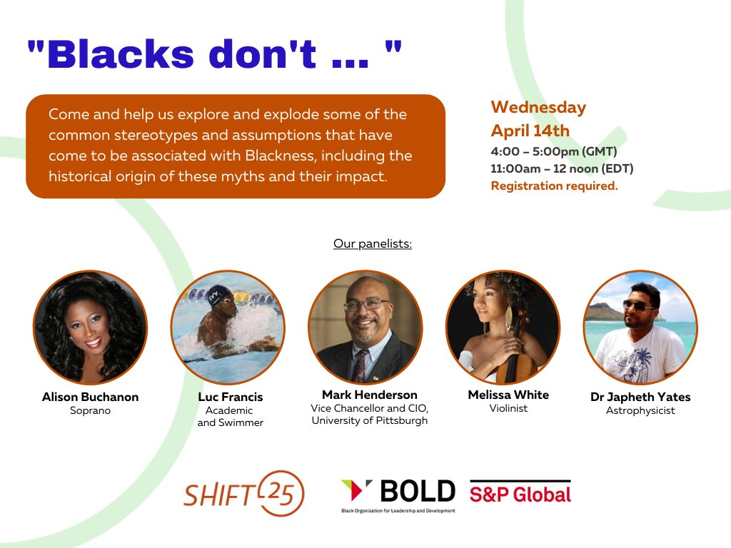 Exciting event this week from @SHIFT25London on stereotypes + assumptions associated with #Blackness this Wednesday 14th April! Part of our work to promote racial parity in the workplace.  Registration + panelist info can be found here: https://t.co/mVrpBkrE1i