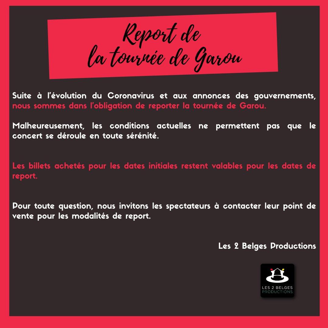 ➖GAROU➖ Concert reporté - Communiqué ⬇️  Le concert de @Garou_officiel, initialement prévu le 1er mai 2021 à la @sallepleyel est reporté au jeudi 7 octobre 2021.    Pour les acheteurs via le site de l