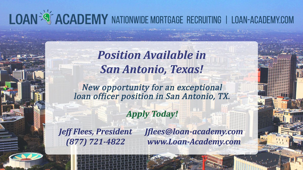 Click here to apply for a mortgage loan officer position in San Antonio, TX: https://t.co/w5fs3xyhB7 #mortgage #business #jobsearch #careeropportunities https://t.co/Mp5amQBKnn