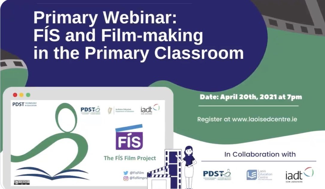 Calling all teachers interested in introducing film into the primary classroom to join a @PDST_TechinEd webinar + @myiadt National Film School lecturers #VanessaGildea #AnnUpton talking about live-action short film & stop motion animation making🎬 @CentreLaois 👏 Register now👇