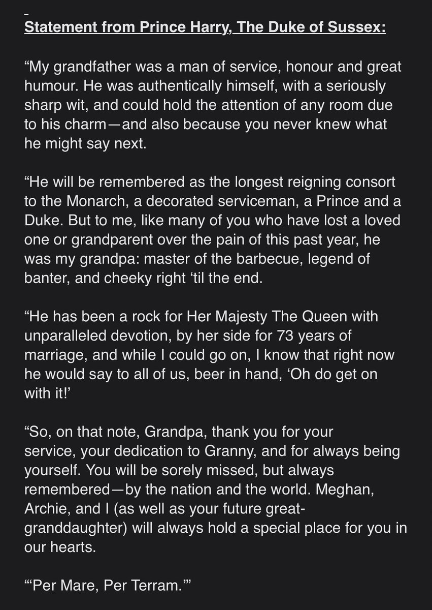 Not a Royalist, but this is particularly moving, warm and human tribute from Harry about his grandfather. #PrinceHarry