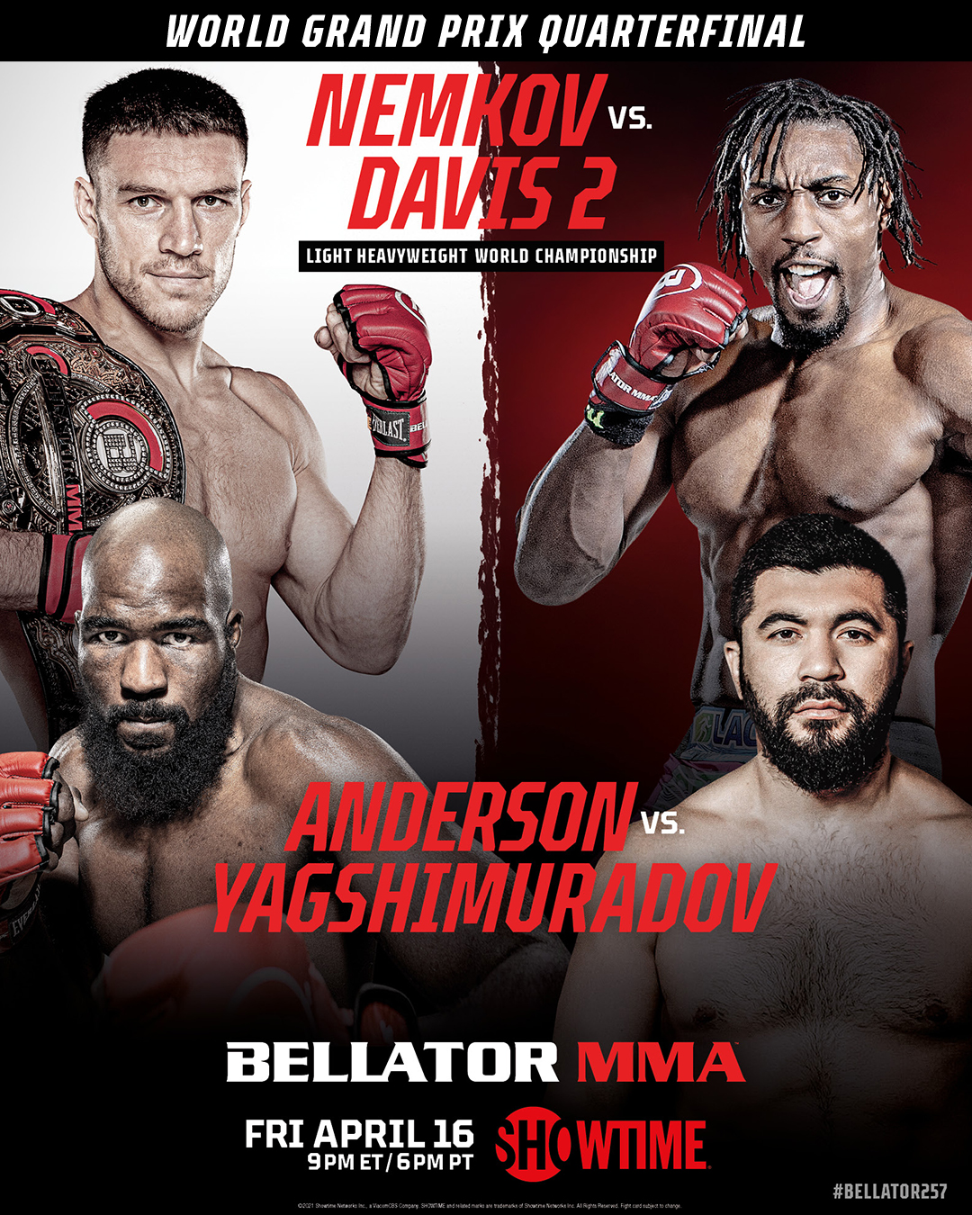 "BellatorMMA в Twitter: ""I T ' S F I G H T W E E K ! Fight week is upon us  and the #BellatorLHWGP will roll on this Friday, April 1️⃣6️⃣th at  #Bellator257 LIVE on @SHOSports. #MMA #BellatorOnShowtime…  https://t.co/ONFmNuyba2"""