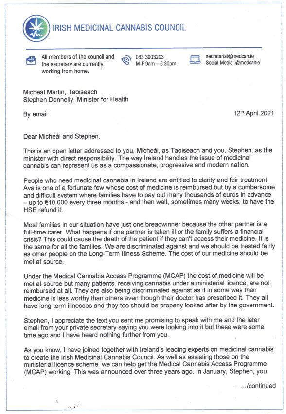 Vera Twomey has sent an open letter to @MichealMartinTD and @DonnellyStephen which has also been released to the media. In it she appeals for their help for everyone in Ireland who needs access to medicinal #cannabis. #talktovera https://t.co/Z3yIC3TOqN