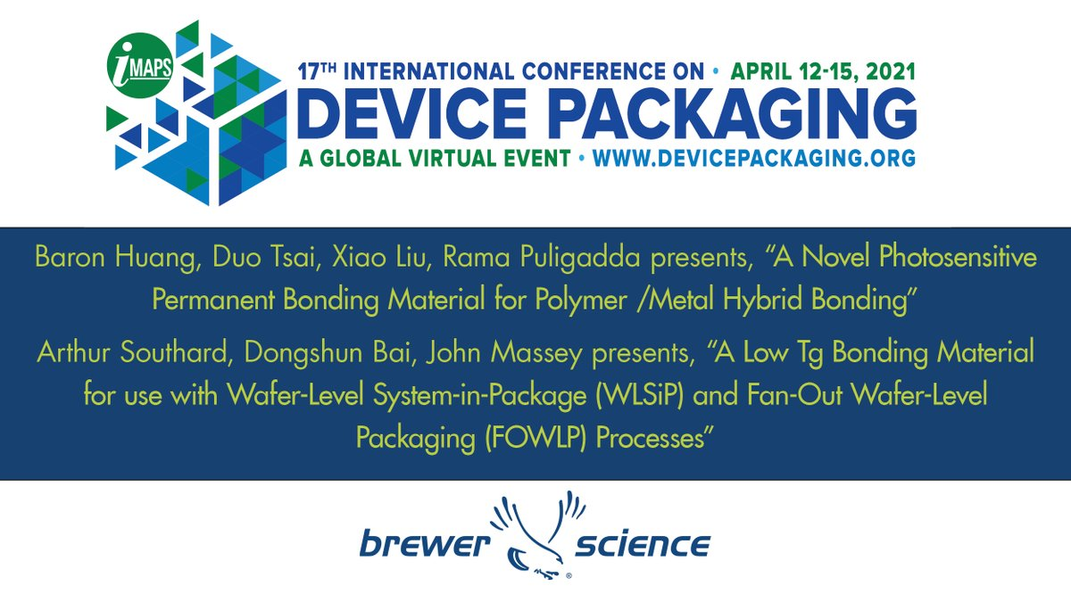 test Twitter Media - This week, Brewer Science is exhibiting and presenting at the IMAPS Device Packaging Conference 2021. Several Brewer Science employees will be presenting their research. Brewer Science is a proud sponsor of the IMAPS Device Packaging Conference.  https://t.co/M1gTOkHhsb https://t.co/JJiXAgokQ7