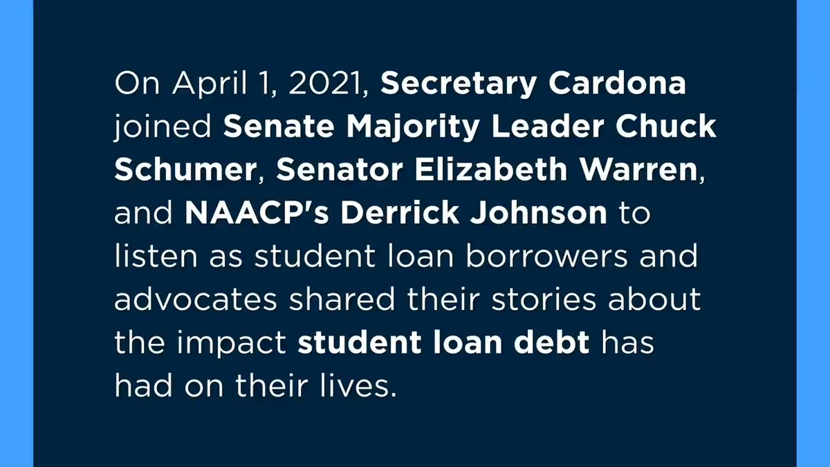 Thank you @SecCardona for joining @SenWarren and me to talk with student borrowers about their experiences with student debt.  President Biden can #CancelStudentDebt and help close the racial wealth gap.