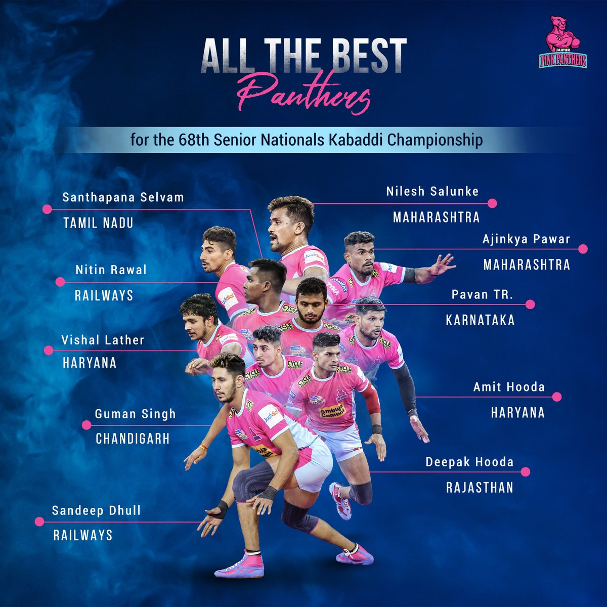 Wishing our #Panthers the very best for the 68th Senior Nationals Kabaddi Championship!   Which team are you supporting?   Leave your answers in the comments section below.  #PantherSquad #JaiHanuman #TopCats #JaipurPinkPanthers #JPP #Jaipur #vivoprokabaddi