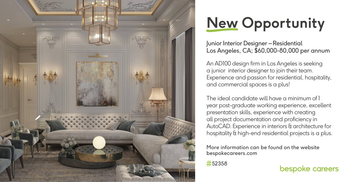An #AD100 design firm in #LosAngeles is seeking a Junior #InteriorDesigner to join their team.   Experience and passion for #residential, #hospitality, and #commercial spaces is a plus!  Interested? Apply here:   #InteriorDesign #InteriorDesignJobs #LAJobs