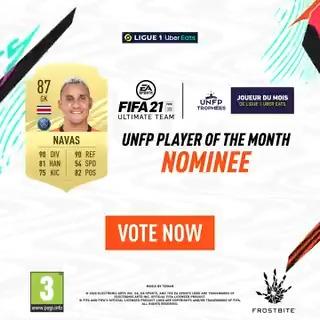 Não passa NADA! 🧤  Vote em Don @NavasKeylor para o Troféu @UNFP de Jogador do Mês de Março!  Vote 👉   #TropheesUNFP   #FUT21   #POTM   @EAFIFABR