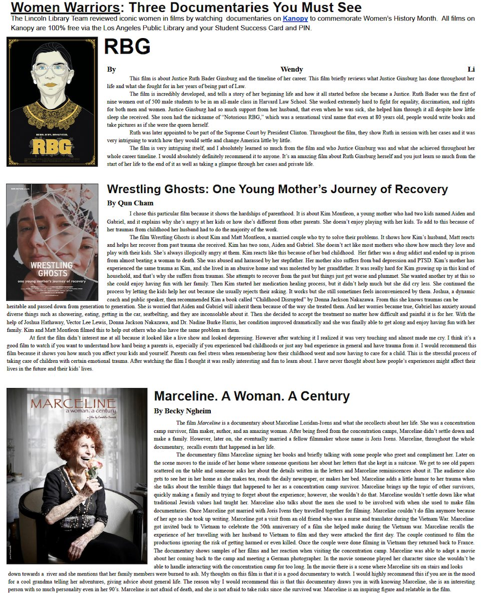 the latest edition of the @LincolnTigers newspaper, the Railsplitter is out! check out film reviews of documentaries on iconic women from @Kanopy watched during #WomensHistoryMonth by the Lincoln Library Team