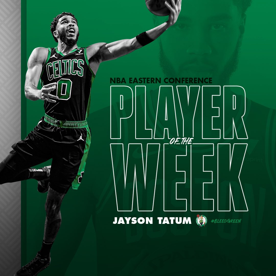 An Eastern Conference-best 31.5 PPG (48.8% shooting), 8.5 RPG and 3.8 APG ☘️  Well-deserved, @jaytatum0 👏🏽 https://t.co/p28y4i6LQT