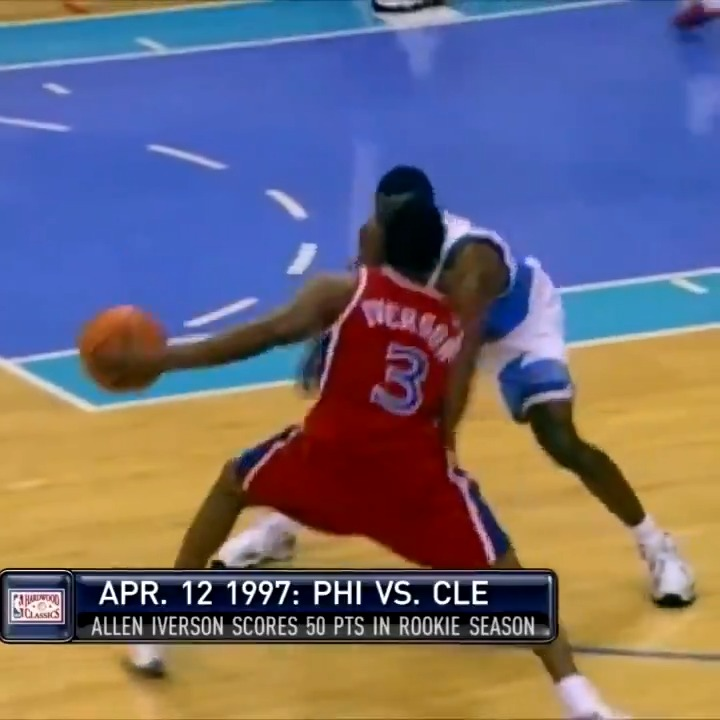 UNGUARDABLE!   24 years ago today, Allen Iverson dropped 50 & broke Wilt's rookie record of 3 straight 40-point games. AI would end up scoring 40+ in 5 straight games: 44, 40, 44, 50, 40. https://t.co/4DqYx5Hi0b