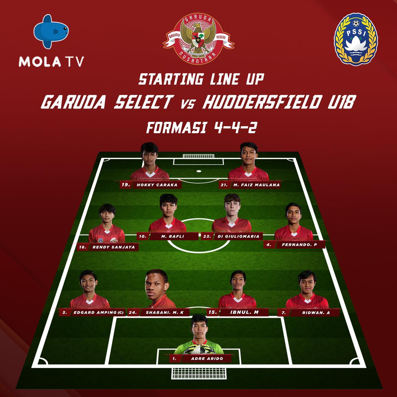 Starting Line Up Garuda Select Lawan Huddersfield U18