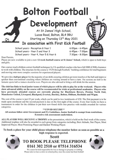 If your child is interested in football please see the flyer below: https://t.co/BayWtzH0fr