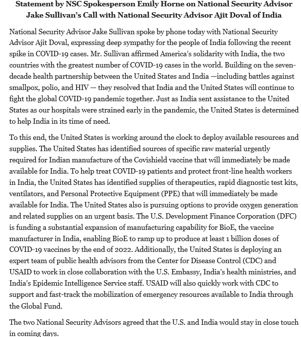 Spoke today with National Security Advisor Ajit Doval about the spike in COVID cases in India and we agreed to stay in close touch in the coming days. The United States stands in solidarity with the people of India and we are deploying more supplies and resources: https://t.co/yDM7v2J7OA